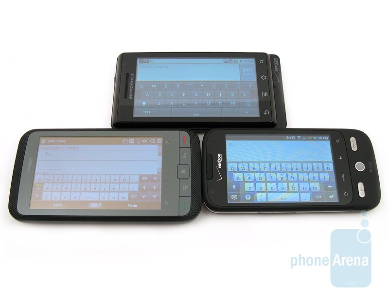 Left to right and bottom to top - HTC Imagio, Motorola DROID, HTC DROID ERIS - Motorola DROID, HTC Imagio and DROID ERIS: side by side