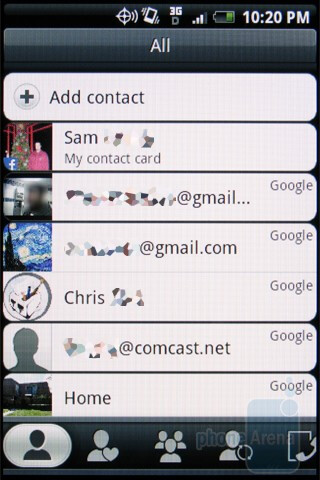 Adding contacts on the HTC DROID ERIS - Motorola DROID, HTC Imagio and DROID ERIS: side by side