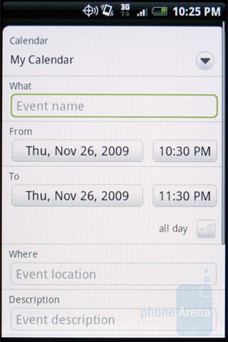 The calendar of the HTC DROID ERIS - Motorola DROID, HTC Imagio and DROID ERIS: side by side