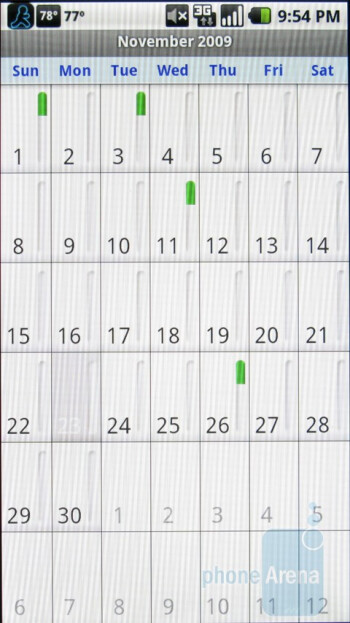 The calendar of the Motorola Droid - Motorola DROID, HTC Imagio and DROID ERIS: side by side