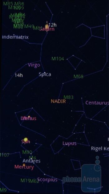 Google Sky Map app - Motorola DROID, HTC Imagio and DROID ERIS: side by side