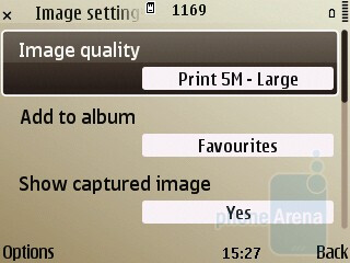 The camera interface - Nokia E72 Review
