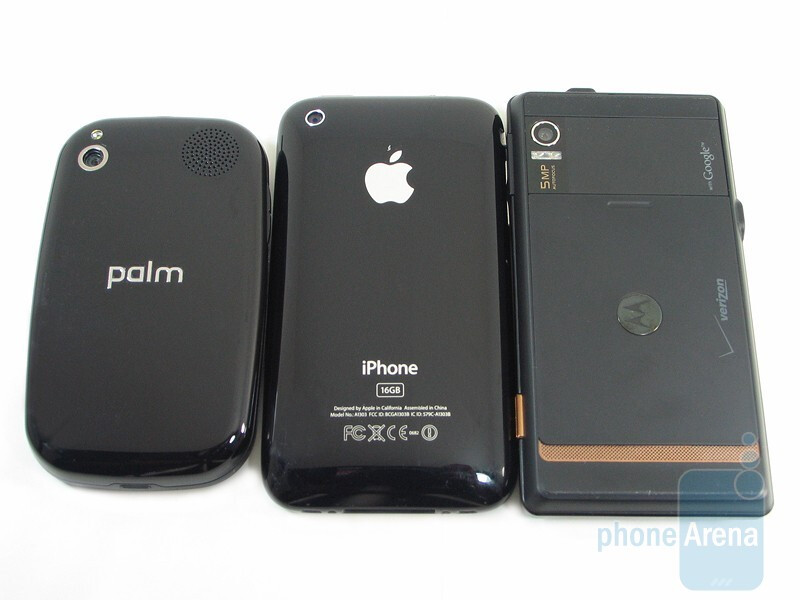 Left to right - Palm Pre, Apple iPhone 3GS, Motorola DROID - Motorola DROID, Apple iPhone 3GS and Palm Pre: side by side