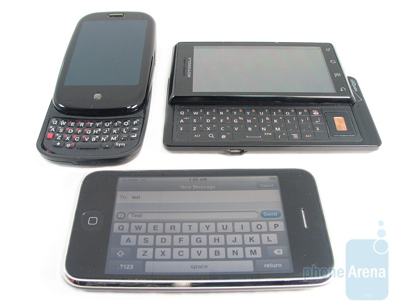 The Apple iPhone 3GS is the only device of the three without a physical QWERTY - Motorola DROID, Apple iPhone 3GS and Palm Pre: side by side
