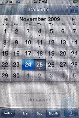 The calendar - The Apple iPhone 3GS interface - Motorola DROID, Apple iPhone 3GS and Palm Pre: side by side