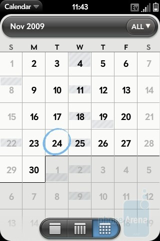 The calendar - The Palm Pre interface - Motorola DROID, Apple iPhone 3GS and Palm Pre: side by side