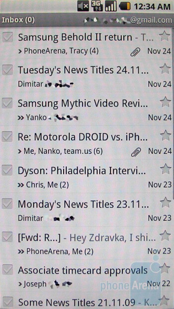 E-mail on the Motorola DROID - Motorola DROID, Apple iPhone 3GS and Palm Pre: side by side