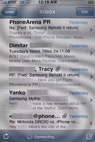 E-mail on the Apple iPhone 3GS - Motorola DROID, Apple iPhone 3GS and Palm Pre: side by side