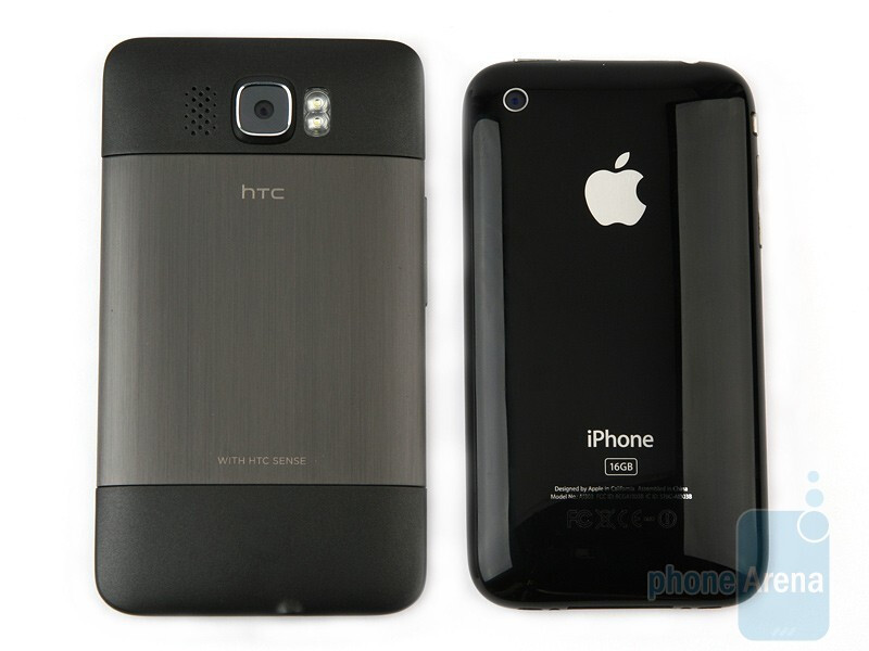 The HTC HD2 and the Apple iPhone 3GS look similar and yet much different from each other - HTC HD2 and Apple iPhone 3GS: side by side