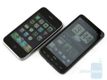 The HTC HD2 has the most compact dimensions  achievable given its huge screen, but he`s stillbigger than the Apple iPhone 3GS - HTC HD2 and Apple iPhone 3GS: side by side