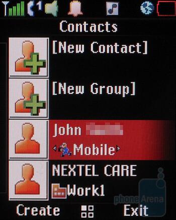 Contacts - Motorola Debut i856 Review