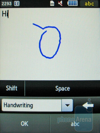 Handwriting recognition - Writing a message - Samsung Flight A797 Review