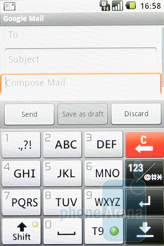 Phone book, email client and portrait keyboard - LG GW620 Preview