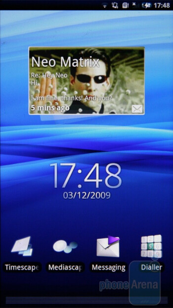The home screen of theSony Ericsson Xperia X10 - Sony Ericsson Xperia X10 Preview