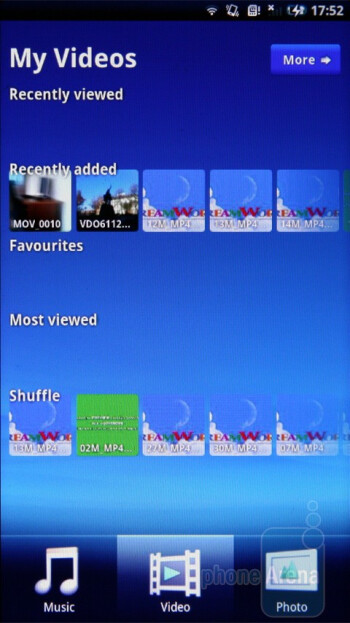 The Mediascape is actually something like a centralized media player - Sony Ericsson Xperia X10 Preview