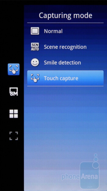 The camera interface of the Sony Ericsson Xperia X10 - Sony Ericsson Xperia X10 Preview