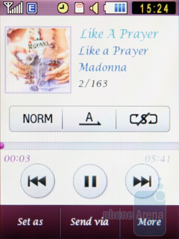 The music player of Diva S7070 - Samsung Diva S7070 and Diva folder S5150 preview