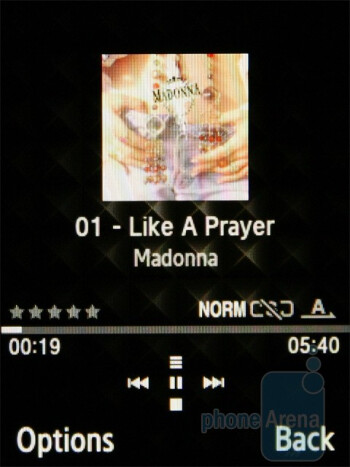 The music player of Diva folder S5150 - Samsung Diva S7070 and Diva folder S5150 preview