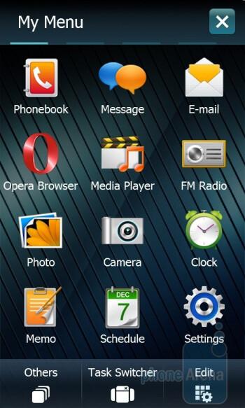 Samsung's personalized main menu - Samsung OmniaPRO B7610 Review