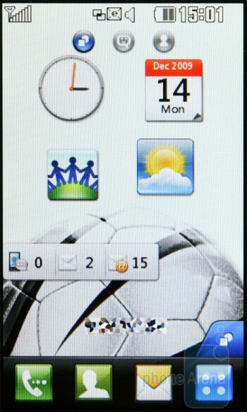 Widgets - The three pages of the home screen - LG Pop GD510 Review