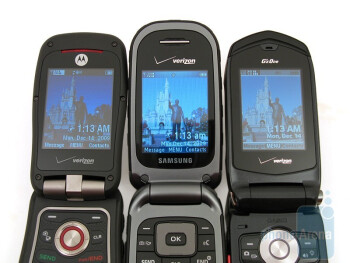 From left to right the phones are Barrage, Convoy and Rock - Casio G'zOne Rock, Motorola Barrage and Samsung Convoy: side by side