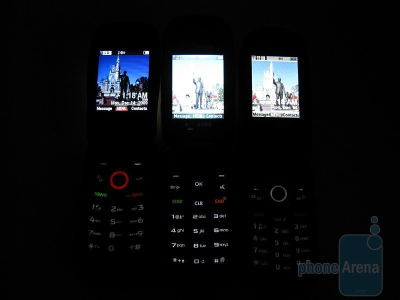 The keyboards of the PTT phones - Casio G'zOne Rock, Motorola Barrage and Samsung Convoy: side by side