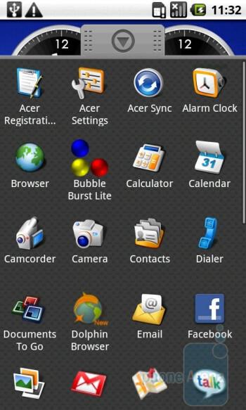Main menu - Acer Liquid A1 Review