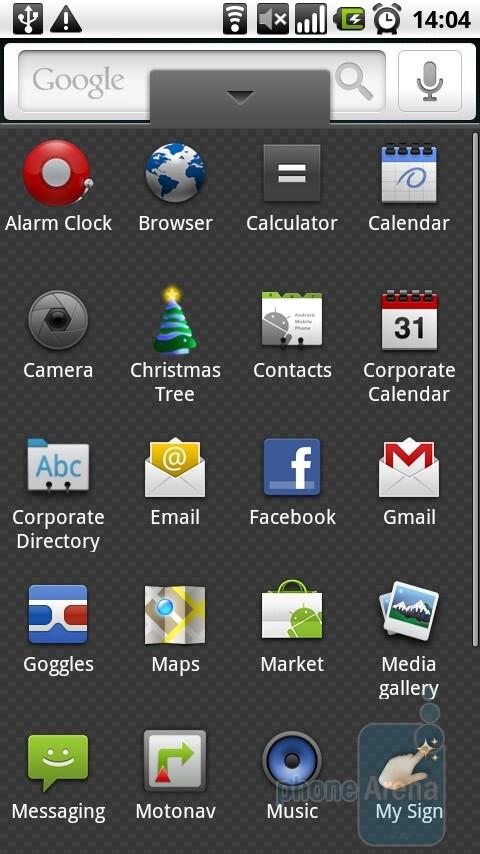 Main menu - Motorola MILESTONE Review