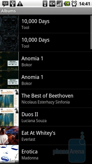 The music player is the same we've seen running on bare bones Android - Motorola MILESTONE Review