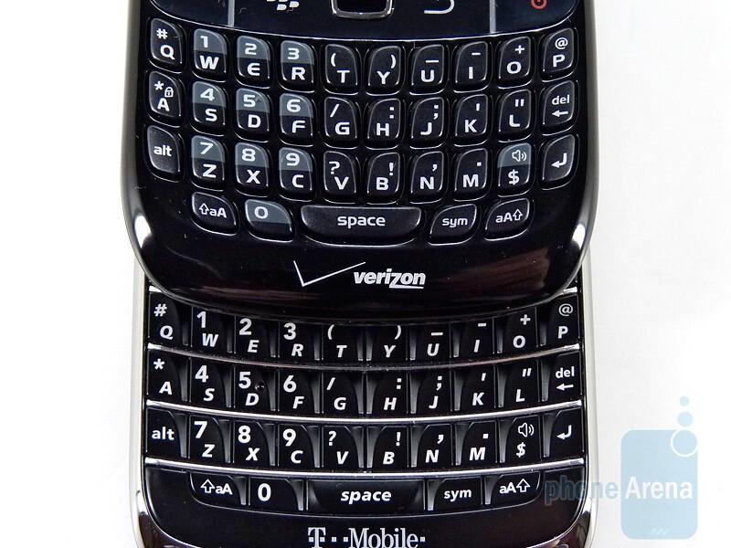 The RIM BlackBerry Bold 9700 (bottom)has larger keys - RIM BlackBerry Bold 9700 and Curve 8530: side by side