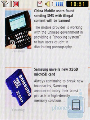 The internet browser of the Samsung Corby S3650 is WebKit-based - Samsung Corby S3650 Review