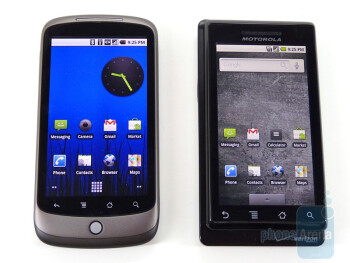 HTC Nexus One next to Motorola DROID - HTC Nexus One and Motorola DROID: side by side