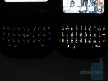 Keyboard backlight - Palm Pre Plus (L), Palm Pixi Plus (R) - The Palm Pre Plus features a 4-row QWERTY keyboard - Palm Pre Plus Review
