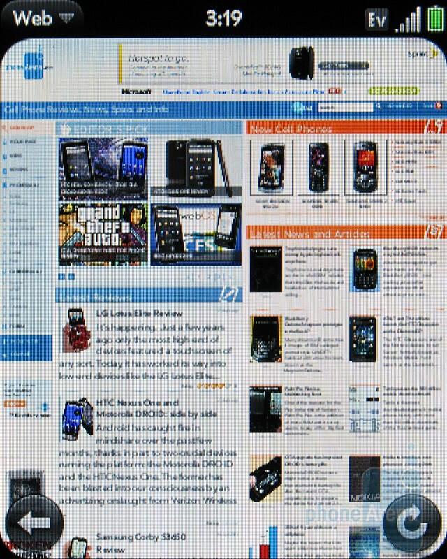 Web browser - Palm Pixi Plus Review