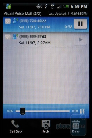 Verizon visual voicemailon the HTC DROID ERIS - HTC Hero and HTC DROID ERIS: side by side