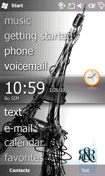 The personalized Windows Mobile interface of the Sony Ericsson Xperia X2 - Sony Ericsson Xperia X2 Review