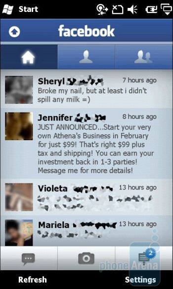 Facebook panel - Sony Ericsson Xperia X2 Review