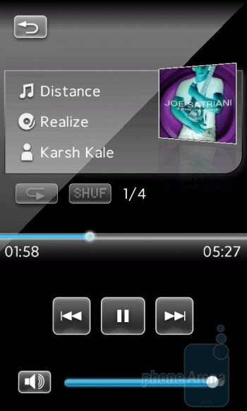 The audio player of the Sony Ericsson Xperia X2 - Sony Ericsson Xperia X2 Review
