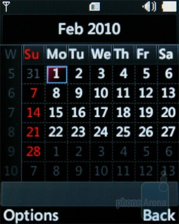 Calendar - The interface of the LG GM205 - LG GM205 Review