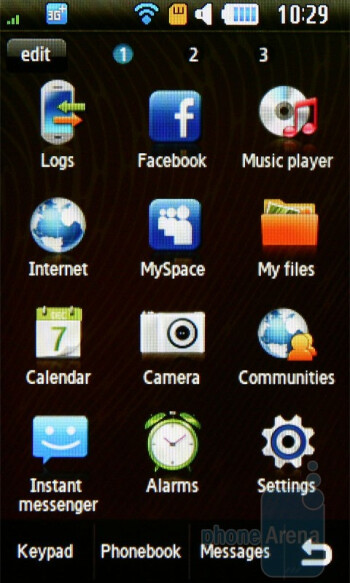 Main menu and icon rearranging - Samsung Monte S5620 Preview