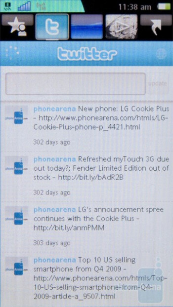 The home screen of the Sony Ericsson Vivaz is divided into 5 separate tabs - Sony Ericsson Vivaz Preview
