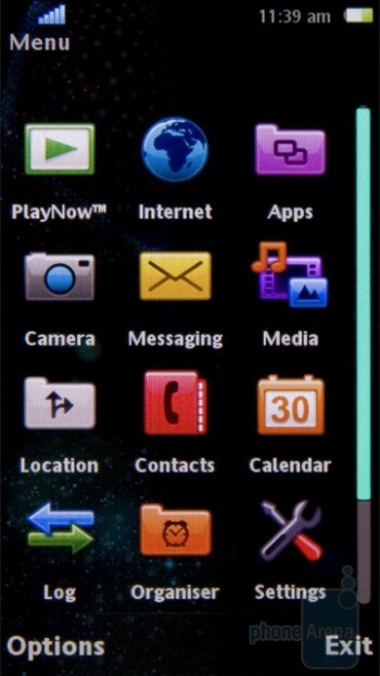 Main menu - The home screen of the Sony Ericsson Vivaz is divided into 5 separate tabs - Sony Ericsson Vivaz Preview