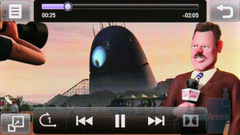 The music and video player of the LG Mini GD880 in landscape mode - LG Mini GD880 Preview
