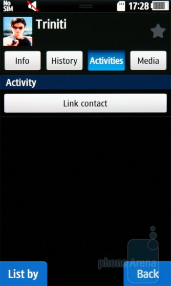 The phonebook allows you to link your contacts to their IM and social accounts - Samsung Wave S8500 Preview