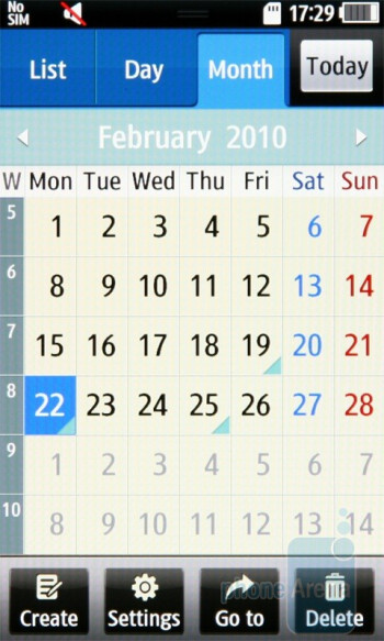 Calendar - Samsung Wave S8500 Preview
