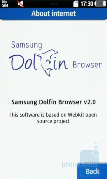 The Samsung Wave S8500 brings a new version of Dolphin – 2.0 - Samsung Wave S8500 Preview