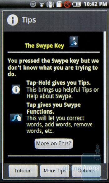Swype allows for entering words by sliding your finger over the necessary letters - Samsung Galaxy 3 I5800 Preview