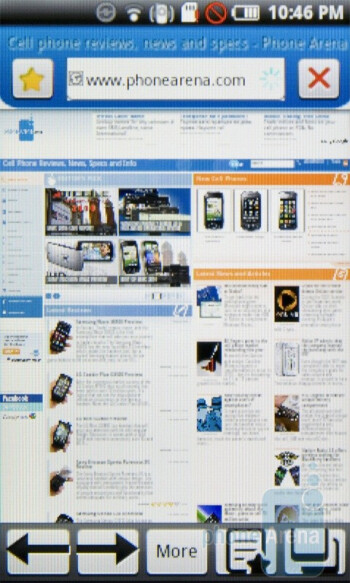 The browser of the Samsung Galaxy 3 I5800 features tabs - Samsung Galaxy 3 I5800 Preview