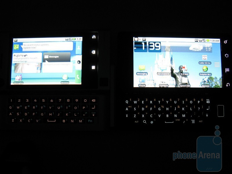 The Motorola DEVOUR A555 (left) next to the DROID (right) - Motorola DEVOUR A555 Review