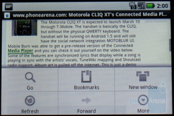 Android's WebKit-based browser running on the Motorola DEVOUR A555 - Motorola DEVOUR A555 Review